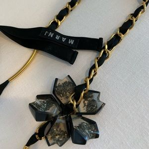 Marni ribbon and chain, resin flower necklace